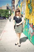 green Urban Outfitters skirt - black Urban Outfitters shoes - black Express top
