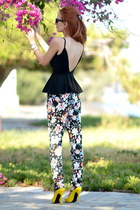 black Nasty Gal top - white Etro pants - yellow Alexander McQueen heels