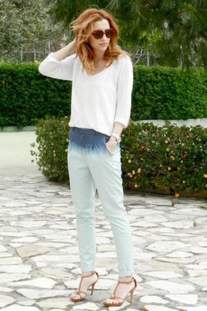 Zara pants - Moschino sunglasses - Zara blouse - Alexander McQueen sandals