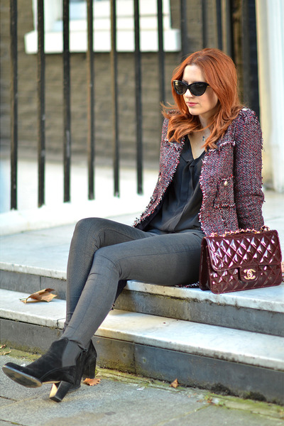 brick red Chanel bag - black Zara shoes - brick red Zara coat
