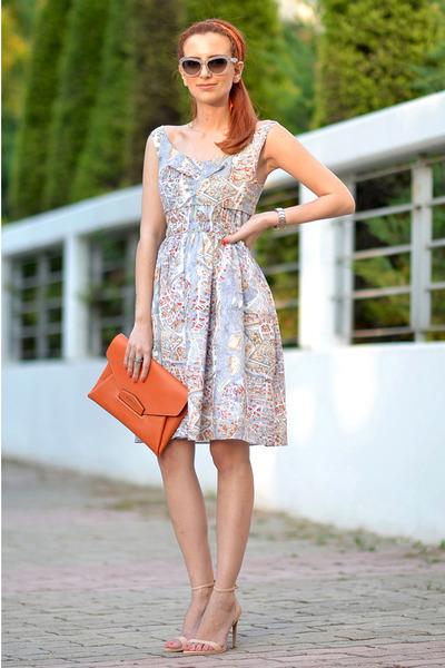 periwinkle Carven dress - carrot orange Givenchy bag - silver Miu Miu sunglasses