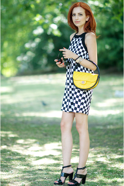 yellow Chanel bag - white chicnova dress - black Dolce & Gabbana heels
