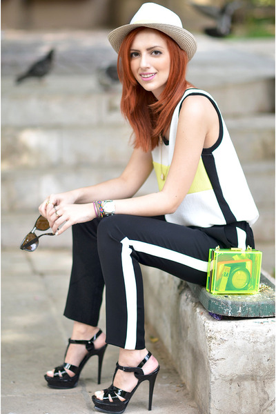 black Topshop pants - light yellow Juicy Couture bag - white Zara blouse