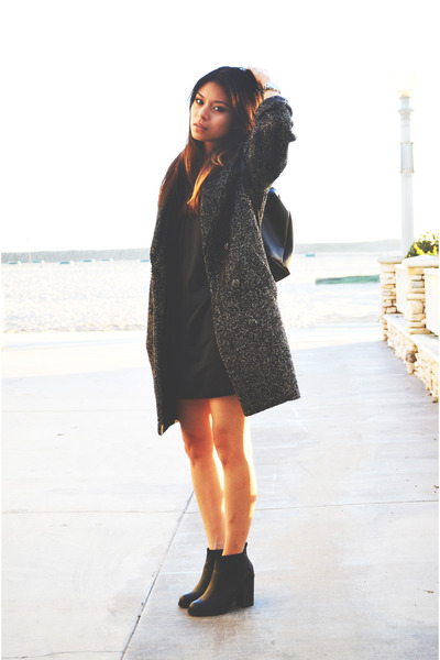 dark gray coat H&M coat - black stack heel asos boots - black silk Target dress