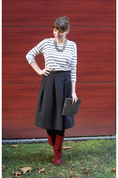H&M skirt - Mexx boots - GINA TRICOT shirt - Monki bag