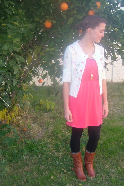 pink eight sixty dress - white free people sweater - black American Apparel legg
