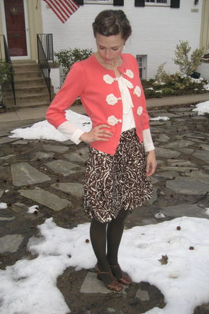 pink TJ Maxx sweater - white Anthropologie shirt - brown banana republic skirt -