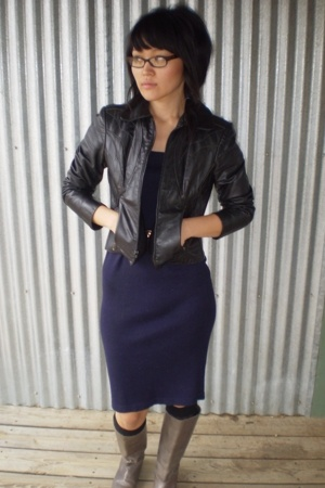 black jacket - gray shoes - blue dress