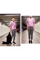 pink printed Raf Simon sweatshirt - lace up Alexander Wang shoes - vintage coat