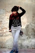 vintage t-shirt - H&M jeans - MNG purse