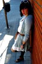 Zara jacket - belt - pull&bear t-shirt - pull&bear skirt - BLANCO shoes