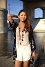 White-forever-21-shorts-forever-21-necklace-black-urban-outfitters-cardigan
