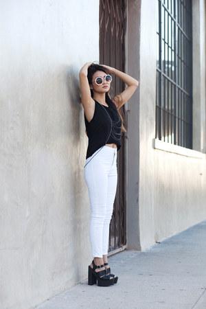 black Marshalls top - white Topshop pants - black Tobi sandals