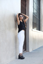 black Marshalls top - white Topshop pants - black Tobi sandals