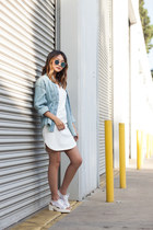 white COVU Clothing dress - light blue denim jacket Boutique in Japan jacket