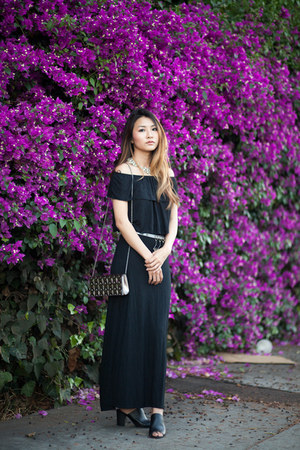black Topshop top - black Wet Seal skirt - black mules Forever 21 heels