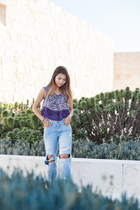 light blue Topshop jeans - deep purple Wasteland top - gold free people sandals