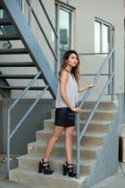 white Tobi top - black H&M skirt - black Tobi heels
