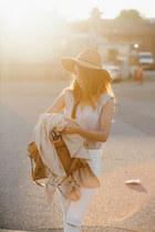 off white Tobi top - tan Goorin Brothers hat - mustard balenciaga bag