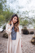 neutral Forever 21 jacket - navy foreign exchange top - white Topshop pants