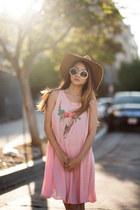 light pink Wildfox dress - camel Goorin hat - silver Clarks wedges