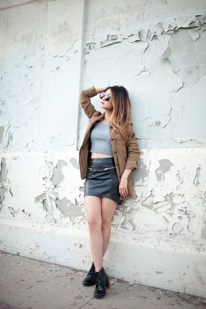 olive green Urban Outfitters jacket - black Nasty Gal sunglasses