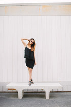 black Wet Seal skirt - black Urban Outfitters top - black Michael Kors sandals