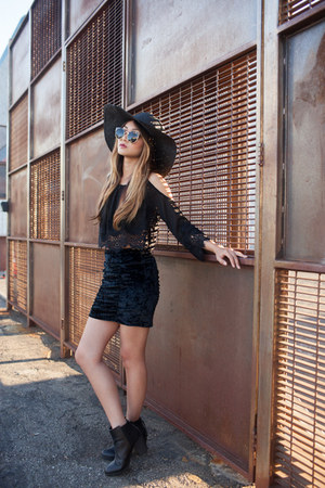 black black H&M boots - black black thrifted hat