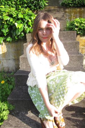 light pink H&M dress - lime green kohls skirt - cream Anthropologie cardigan
