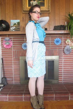 light brown simply vera wang boots - turquoise blue Target dress - cream Target