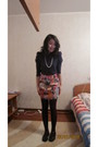 Black-mileno-shoes-purple-only-shirt-brown-tights-skirt-white-necklace