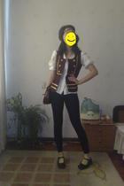 brown vest - black leggings - black shoes - brown purse - white banana republic