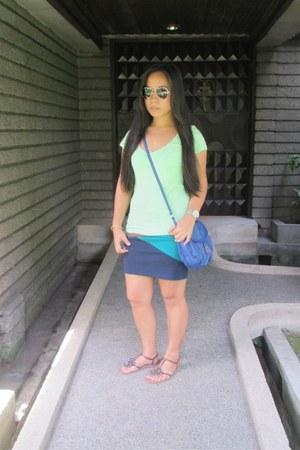 Forever 21 skirt - blue Mango bag - black Mango sunglasses - silver Fossil watch
