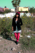 pink JCpenney tights - black boots - white Agaci skirt
