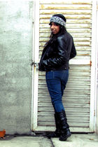 white LEI blouse - blue Steve & Barrys jeans - black unknown brand boots - black