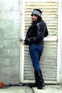 White-lei-blouse-blue-steve-barrys-jeans-black-unknown-brand-boots-black