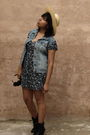 Black-forever-21-boots-blue-forever-21-dress-beige-souvenir-hat-diy-vest