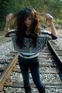 Gray-charlotte-russe-sweater-black-charlotte-russe-boots-blue-wet-seal-leggi