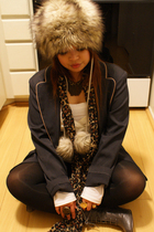 gray blazer - silver boots - brown hat - beige dress