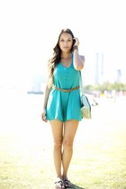 turquoise blue romper - brown