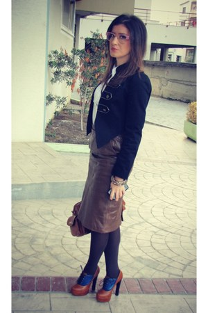 dark brown skirt - black jacket - white shirt - brown bag - brown heels