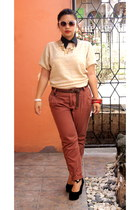 burnt orange pants - ruby red bracelet - cream blouse - black wedges
