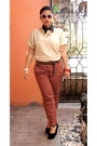 Cream-blouse-burnt-orange-pants-ruby-red-bracelet-black-wedges