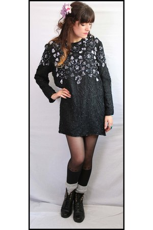 black sequined Frank Usher dress
