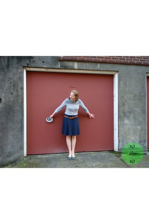 heather gray shirt - blue skirt - brown belt