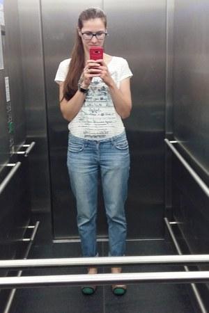 light blue H&M jeans - white Monnari t-shirt - green Friendlex flats