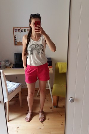 white DIY shirt - hot pink unknown shorts - brown Lasocki sandals
