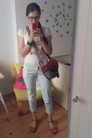 red Słoń Torbalski bag - brown Lasocki sandals - light blue Repeat pants