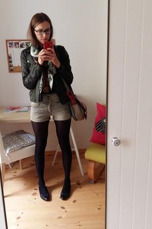black unknown shoes - black Bona parte jacket - light blue H&M scarf