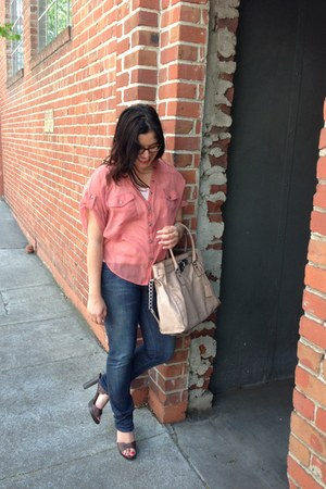 blue salt jeans - peach hamilton Michael Kors bag - dark brown Via Spiga sandals